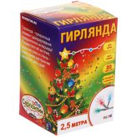 Гирлянда светод2,5м 20лампLED СНЕЖИНКА прозр пр/50