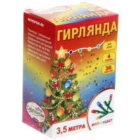 Гирлянда светод 3,5м 36ламп LEDмультцв зел пр/200/