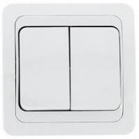 Выключатель ПРОГРЕСС SLIM c/у 2кл б/п белый/10/200